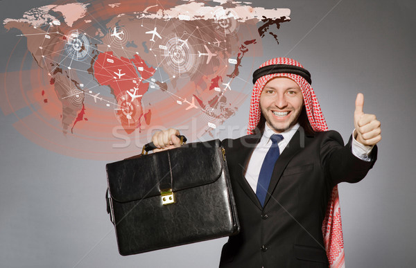 The arab man in world travel concept Stock photo © Elnur