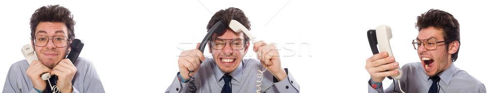 Böse Call Center Mitarbeiter Collage Telefon Mann Stock foto © Elnur