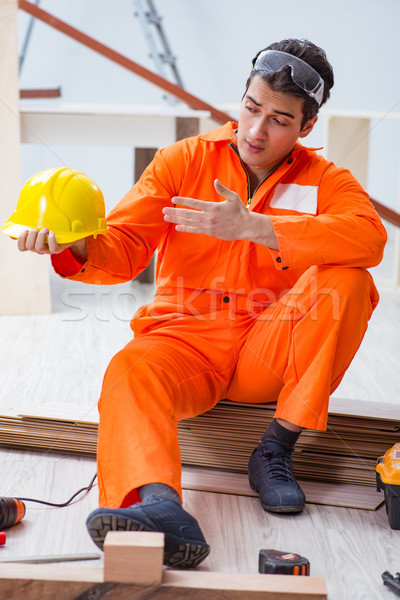 ács visel citromsárga munkavédelmi sisak beszállító műhely Stock fotó © Elnur