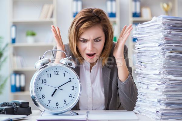 Businesswoman working in the office Stock photo © Elnur