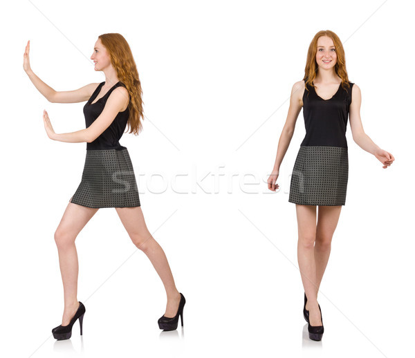 The red hair girl in gray dress isolated on white Stock photo © Elnur