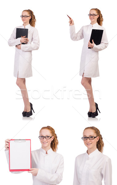 Young medical  student with binder talking on a cell  isolated o Stock photo © Elnur