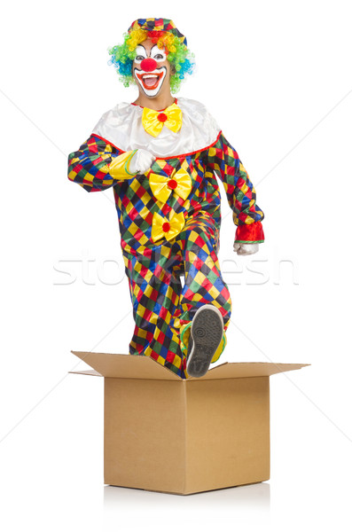 Stock photo: Clown jumping out of the box
