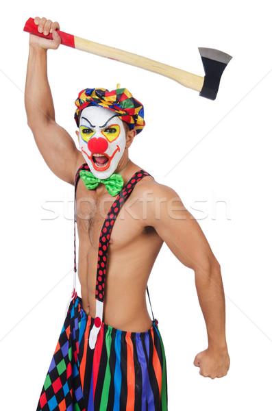 Clown ax isolato bianco lavoratore divertente Foto d'archivio © Elnur