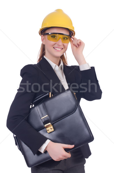 Young businesswoman with hard hat on white Stock photo © Elnur