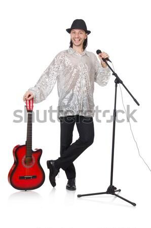 Masculino guitarrista isolado branco festa metal Foto stock © Elnur