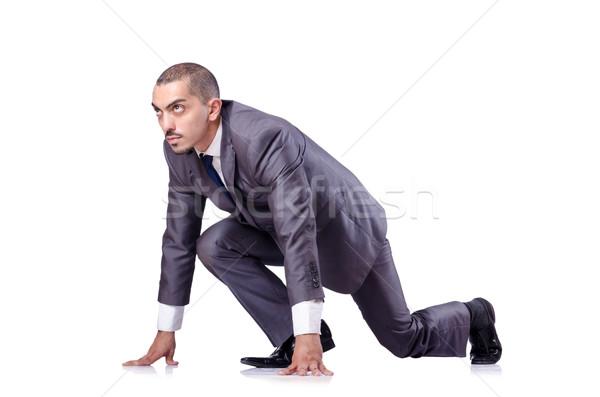 Zakenman klaar race geïsoleerd witte werknemer Stockfoto © Elnur