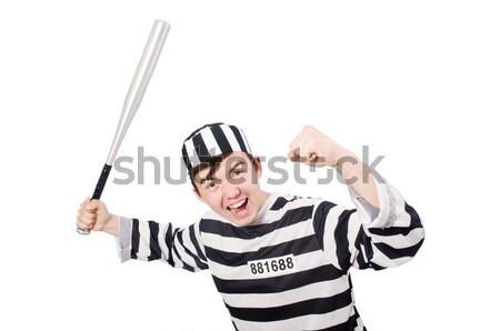 囚人 縞模様の ユニフォーム 白 金属 法 ストックフォト © Elnur