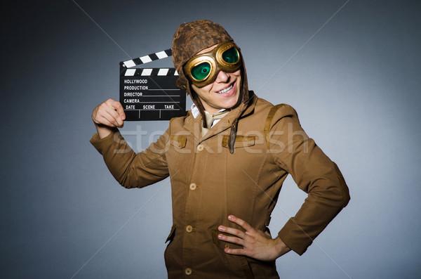 671e814ddcb1b3 Grappig piloot stofbril helm man film Stockfoto © Elnur