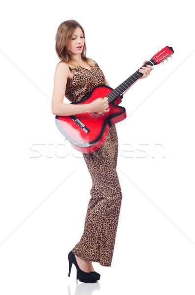 Kadın leopar giyim beyaz gitar müzik Stok fotoğraf © Elnur