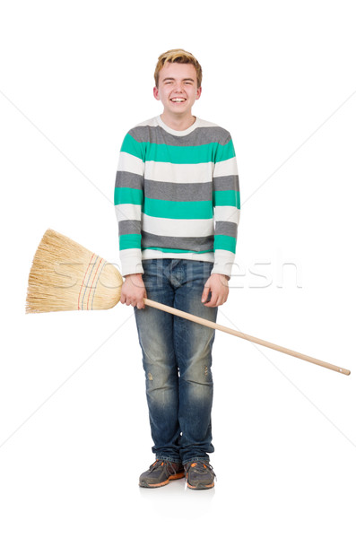 Funny man with mop isolated on white Stock photo © Elnur
