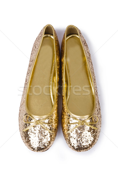Golden ballet shoes isolated on white Stock photo © Elnur