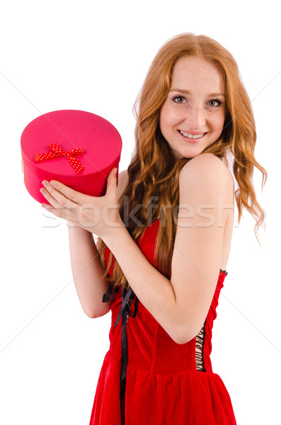 Pretty girl in red dress  with casket  isolated on white Stock photo © Elnur