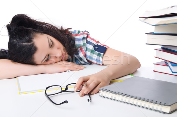 Müde Studenten Lehrbücher weiß Mädchen Pfund Stock foto © Elnur