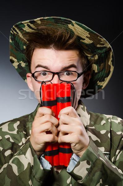 Engraçado soldado vermelho dinamite homem fundo Foto stock © Elnur
