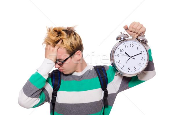 Estudiante que falta plazos aislado blanco escuela Foto stock © Elnur