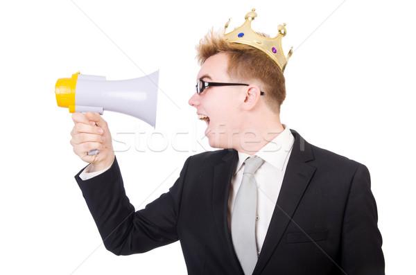 Człowiek korony megafon odizolowany biały człowiek biały Zdjęcia stock © Elnur