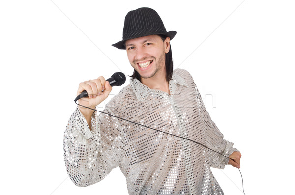 Man with mic isolated on white Stock photo © Elnur