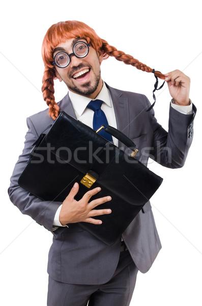 Komik işadamı kadın peruk yalıtılmış beyaz Stok fotoğraf © Elnur