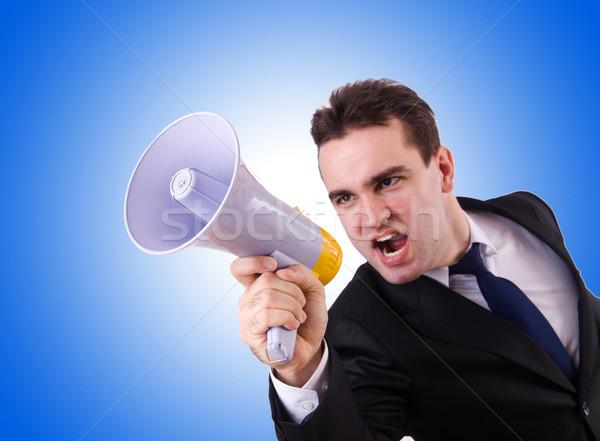 Fiatal üzletember hangfal fehér üzlet férfi Stock fotó © Elnur