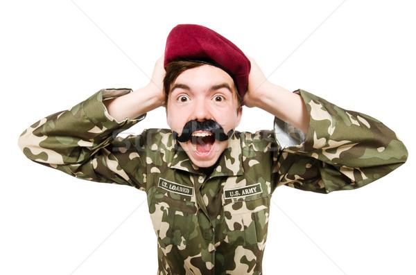 Vicces katona izolált fehér férfi zöld Stock fotó © Elnur