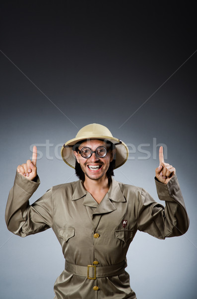 Funny Safari Jäger gun Bildschirm Person Stock foto © Elnur