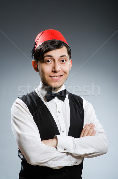 Férfi visel hagyományos török kalap mosoly Stock fotó © Elnur