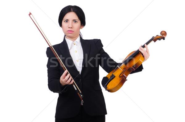 Nő hegedű izolált fehér művészet szomorú Stock fotó © Elnur