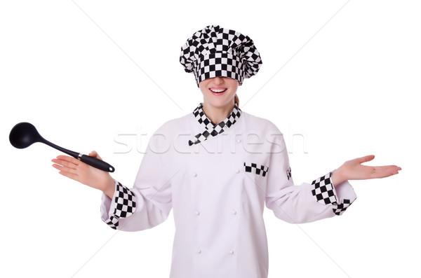 Female chef isolated on white Stock photo © Elnur