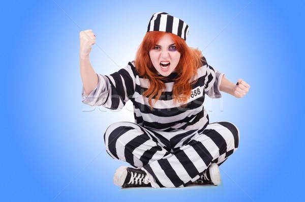 Więzień pasiasty uniform biały metal bezpieczeństwa Zdjęcia stock © Elnur