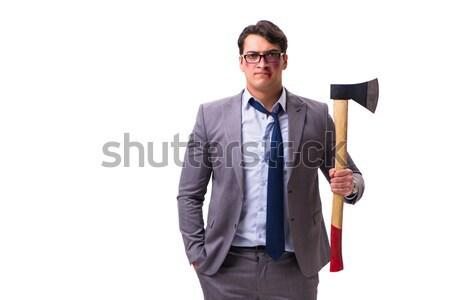 面白い ビジネスマン 斧 白 ビジネス 顔 ストックフォト © Elnur