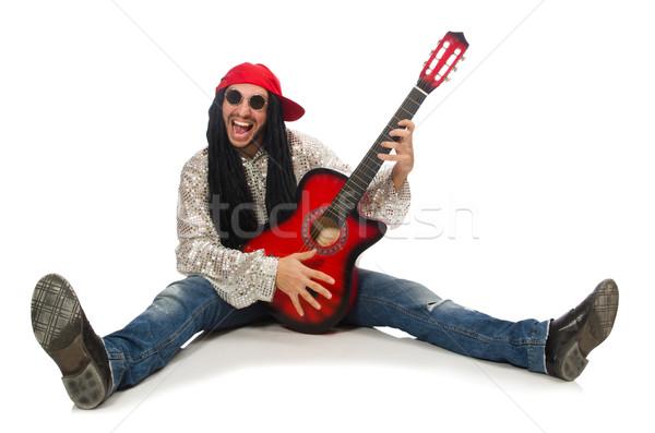 Mężczyzna muzyk gitara odizolowany biały koncertu Zdjęcia stock © Elnur