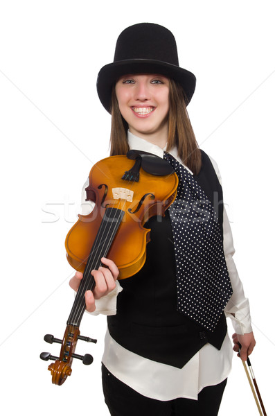 Nő hegedű játékos izolált fehér koncert Stock fotó © Elnur