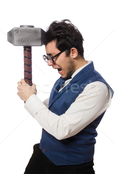 Young man holding hammer isolated on white Stock photo © Elnur