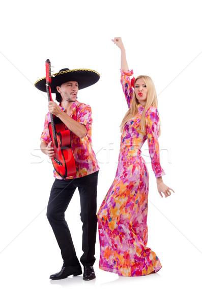 Foto stock: Espanhol · par · jogar · guitarra · dança · casamento