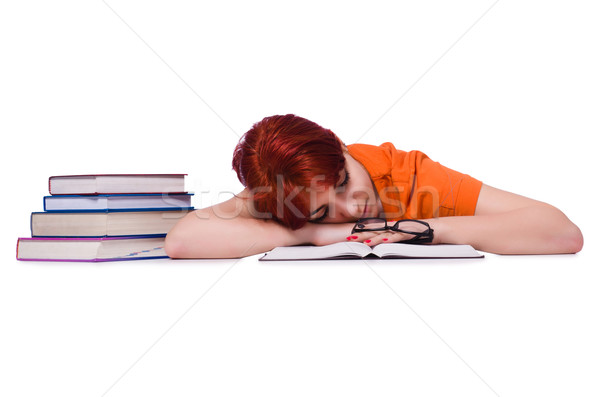 Woman sleeping during preparation for exam Stock photo © Elnur