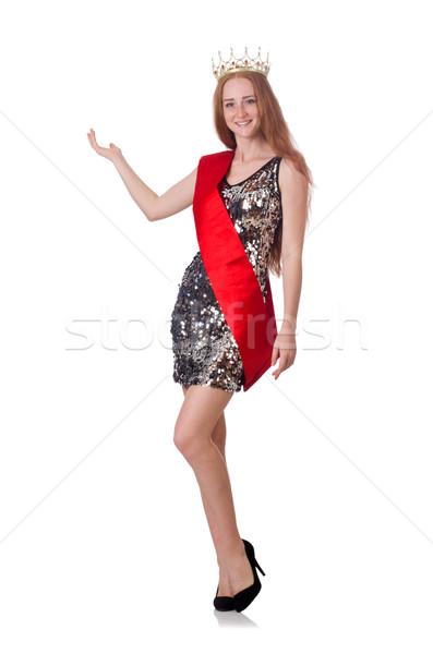 Szépség vetélkedő nyertes izolált fehér nő Stock fotó © Elnur