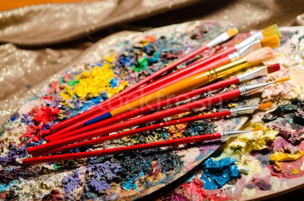 Arte palette scuola vernice sfondo istruzione Foto d'archivio © Elnur