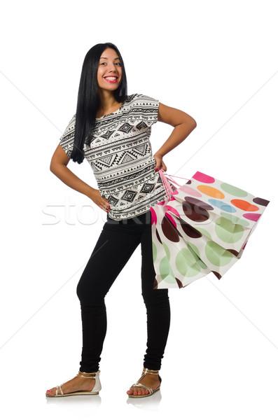 Femme isolé blanche heureux mode Photo stock © Elnur
