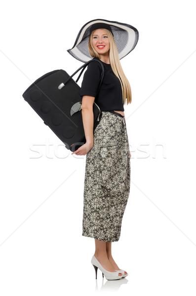 Csinos nő hosszú szoknya izolált fehér lány Stock fotó © Elnur