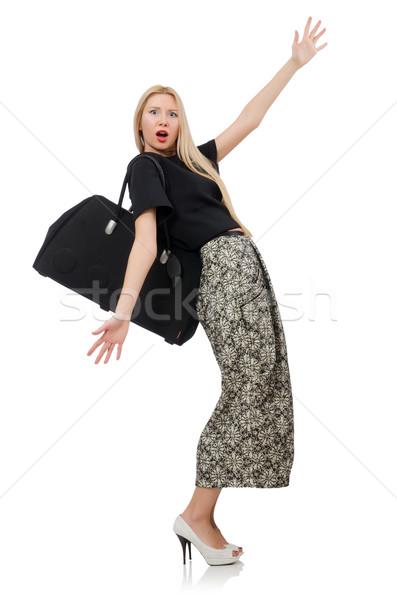 красивая женщина долго юбка изолированный белый девушки Сток-фото © Elnur
