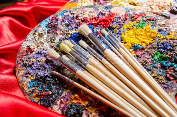 Artysty palety sztuki wody projektu ramki Zdjęcia stock © Elnur