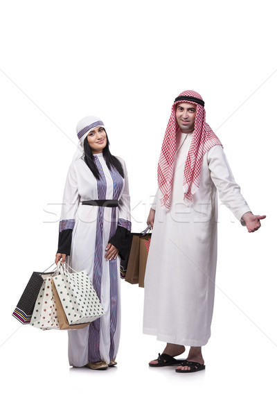 Happy arabic family after shopping isolated on white Stock photo © Elnur