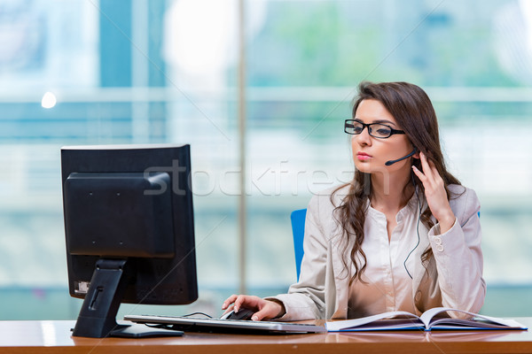 Call center operator working in the office Stock photo © Elnur