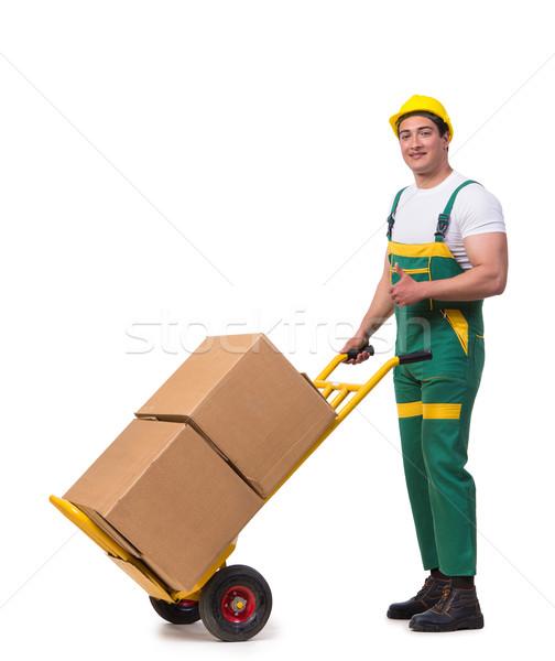 Férfi költözködő dobozok izolált fehér férfi fehér háttér Stock fotó © Elnur