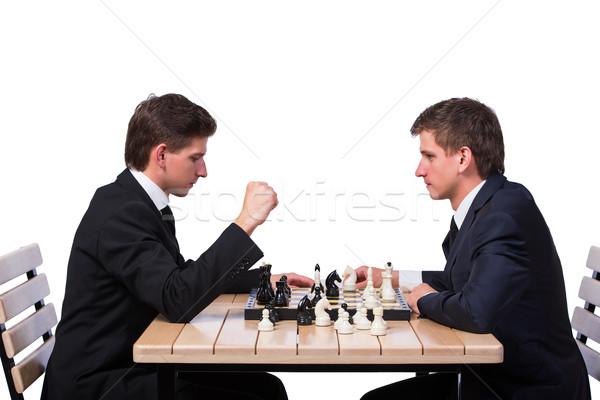双子 ブラザーズ 演奏 チェス 孤立した 白 ストックフォト © Elnur