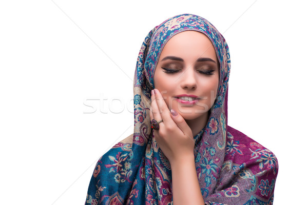 Woman in traditional muslim cover with ring Stock photo © Elnur