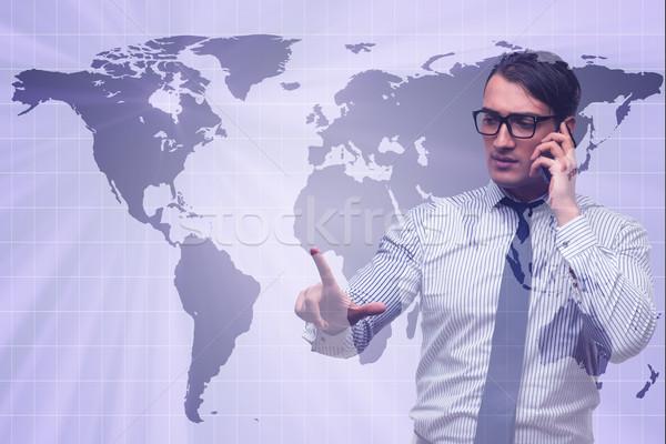 Stock fotó: üzletember · globális · üzlet · világ · Föld · űr · hálózat