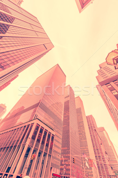 New York skyscrapers vew from street level Stock photo © Elnur
