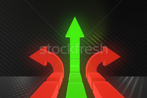 Road arrows at crossroads in difficult choice concept - 3d rende Stock photo © Elnur